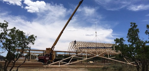 The roof trusses are going up. June 20, 2014